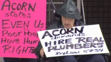 BC ACORN rallies for Healthy Homes in New Westminister.