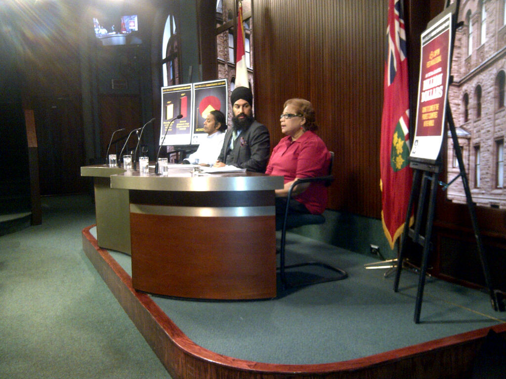 Kay Bisnath, MPP Jagmeet Singh and Rohan Jagroo announce the introduction of Bill 98.