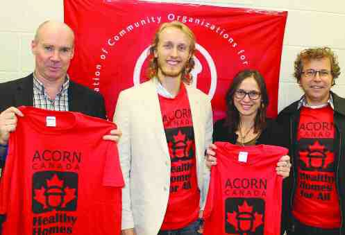 From left, George Brown, ACORN legal council, Daniel Tucker-Simmons, law student at the University of Ottawa, Suzanne Bouclin and David Wiseman professors at the University of Ottawa faculty of law attend an ACORN press conference on Oct. 2.
