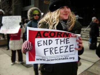 Toronto ACORN and allies take action for a higher minimum wage.