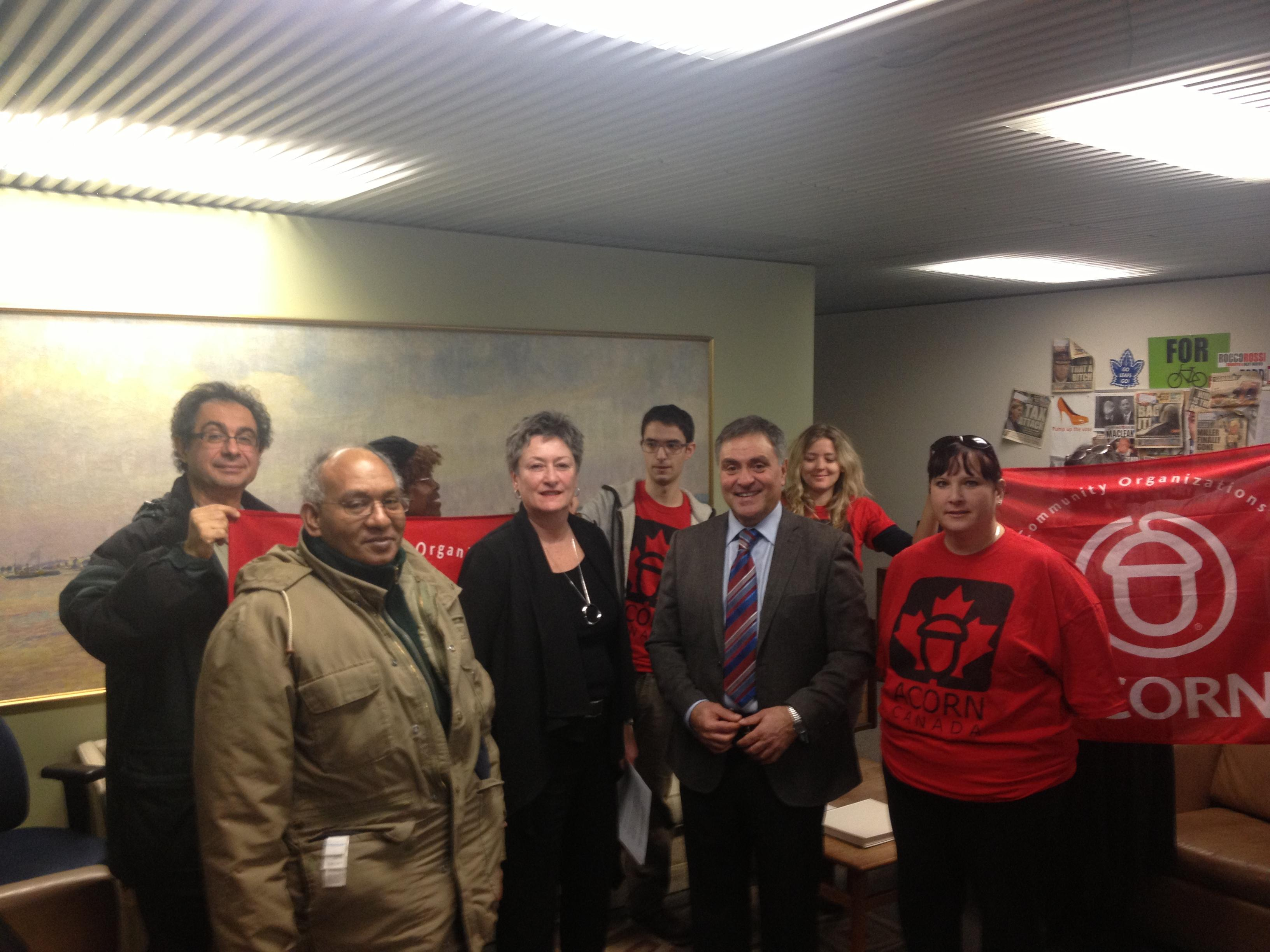ACORN members with Janet Davis and Anthony Perruzza.