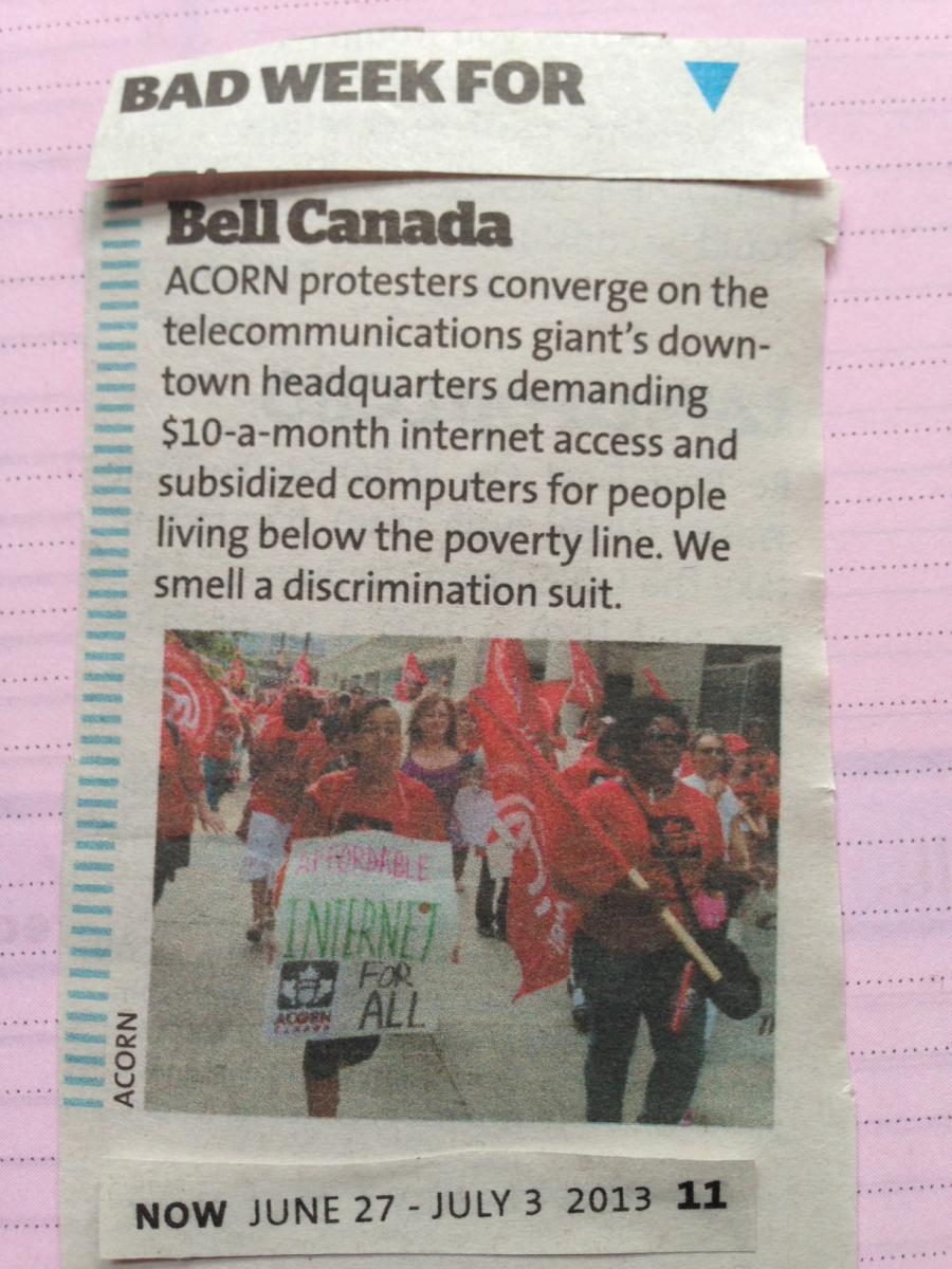 NOW Magazine: Bad Week for Bell Canada | ACORN Canada