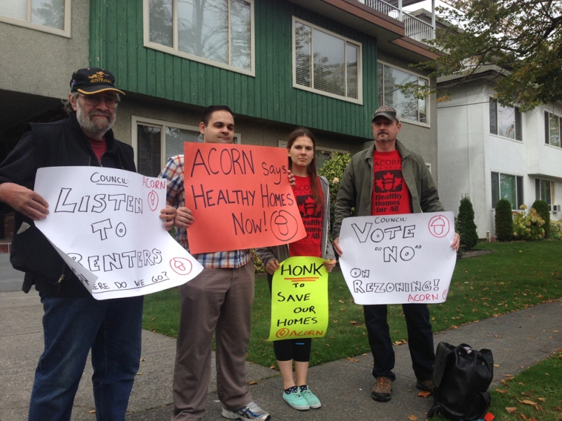 ACORN members in front of 6687 Marlborough Ave., another Metrotown building slated for demolition.