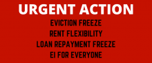 ACORN Canada Text: Urgent Action Eviction Freeze, Rent Flexibility, Loan Repayment Freeze, EI for Everyone