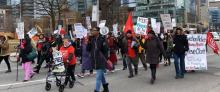 ACORN members and allies marching to demand a Rent Freeze and Rent Control